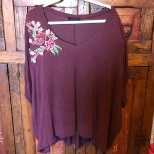 Ezra maroon hand embroidered top size  xl